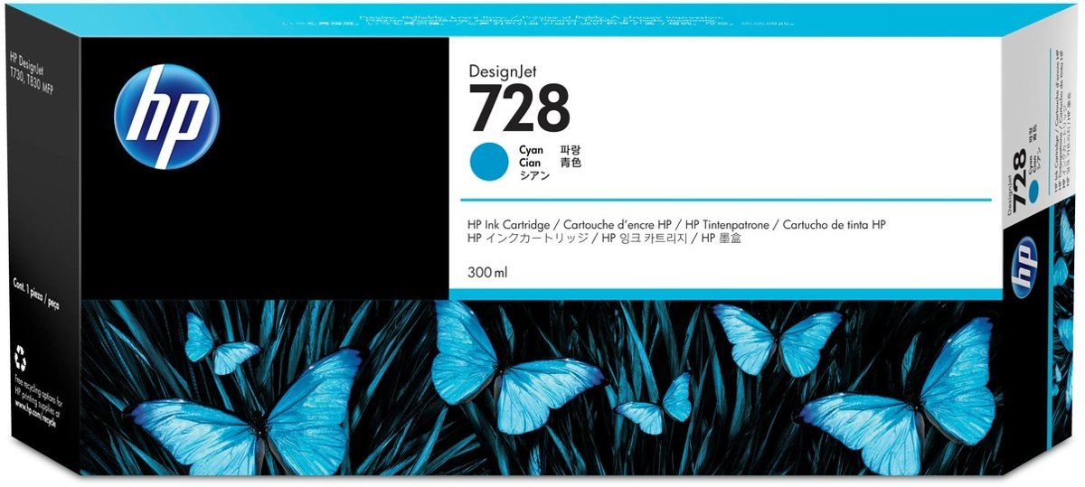 HP 728 300-ml Cyan Inkt Cartridge