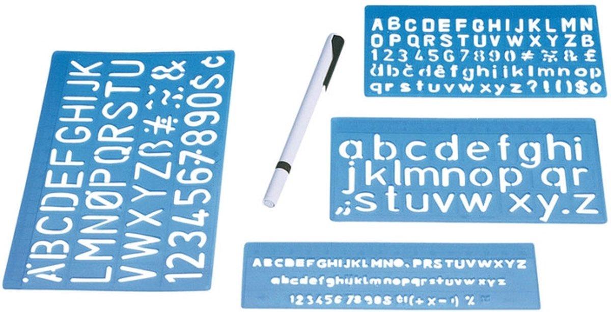 Lettersjablonen set 5, 10 en 20 mm. kopen
