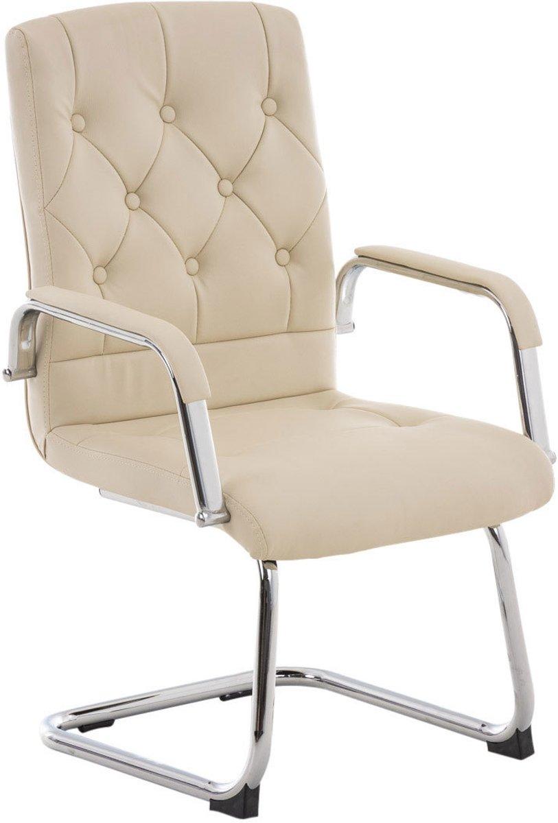 Clp Stijlvolle bezoekersstoel, conferentiestoel, vergaderstoel CLAIRE - cantilever met verchroomd onderstel - creme kopen