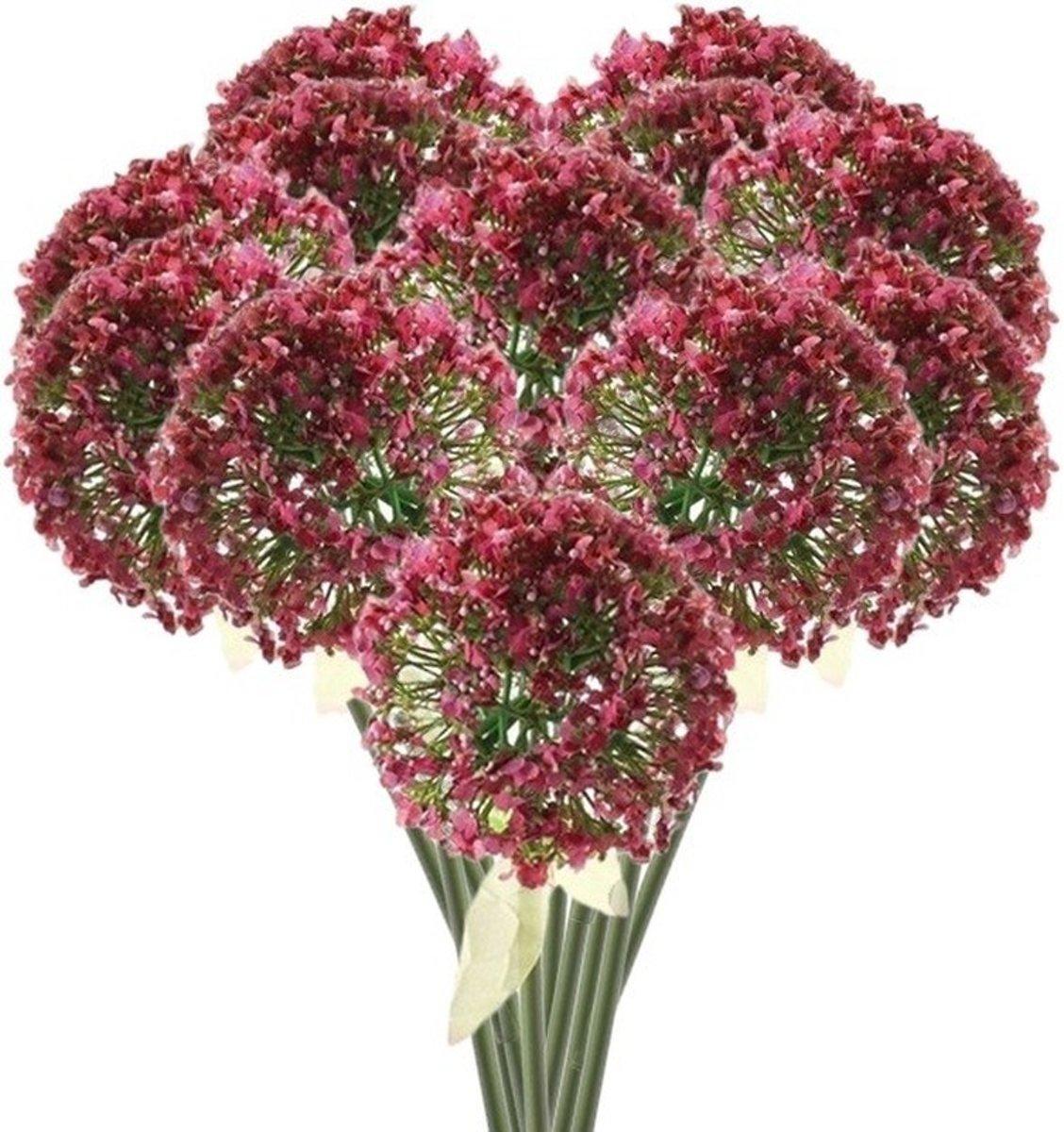 12 x Roze/paarse sierui steelbloem 70 cm - Kunstbloemen kopen
