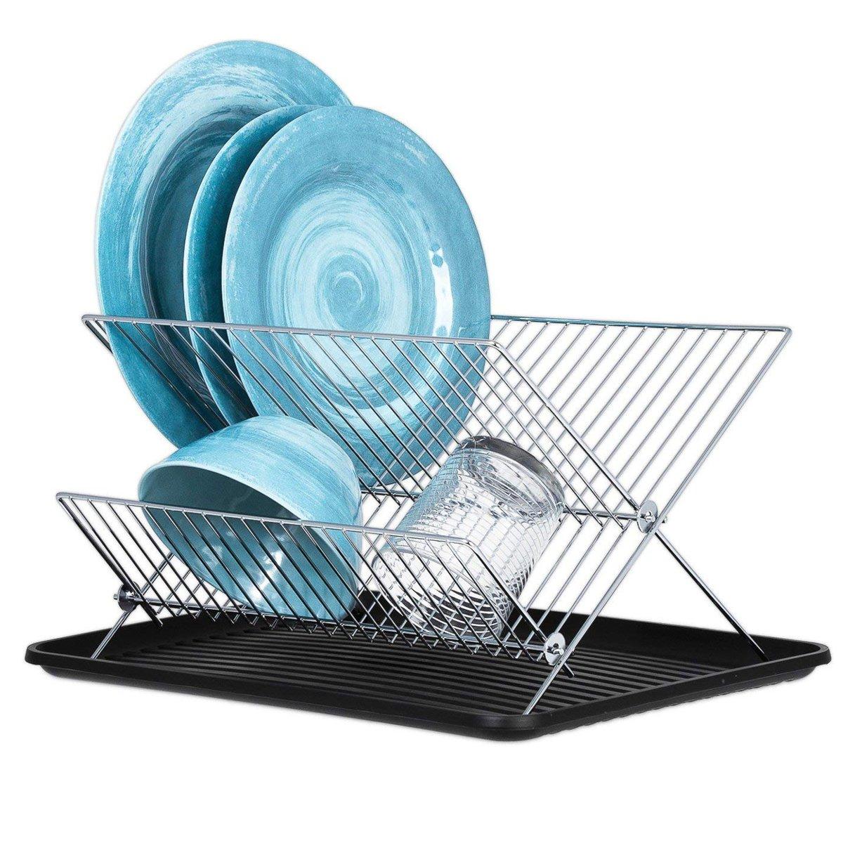 KitchenBrothers Inklapbaar Afdruiprek met Lekbak - RVS Afwasrek - Twee Laags Vaatwasrek - Keukenrek - Metaal - Chrome kopen