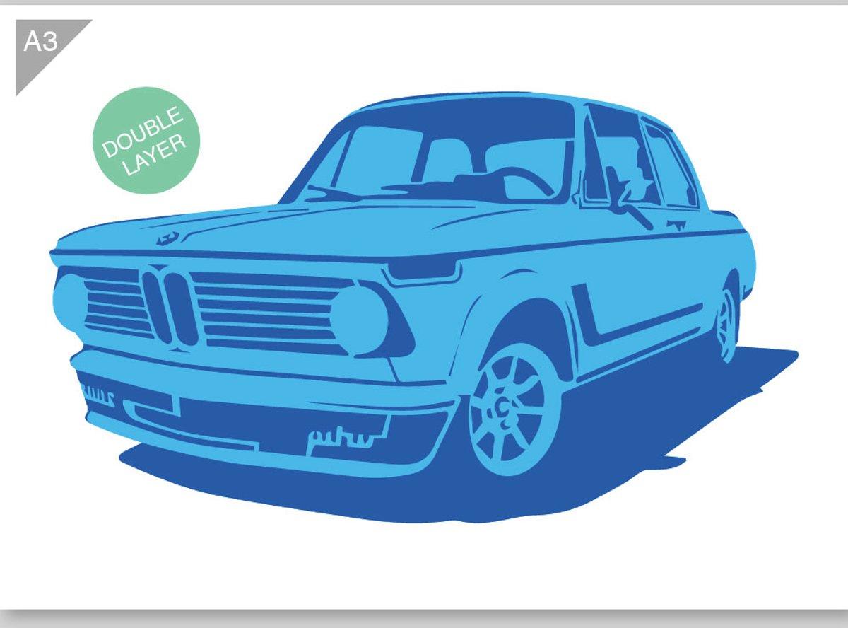 BMW E10 02 sjabloon - 2 Lagen kartonnen A3 stencil - Kindvriendelijk sjabloon geschikt voor graffiti, airbrush, schilderen, muren, meubilair, taarten en andere doeleinden kopen