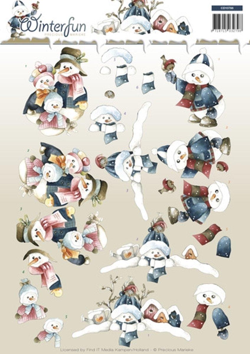 3D Knipvel - Precious Marieke - Winterfun - Sneeuwmannen kopen