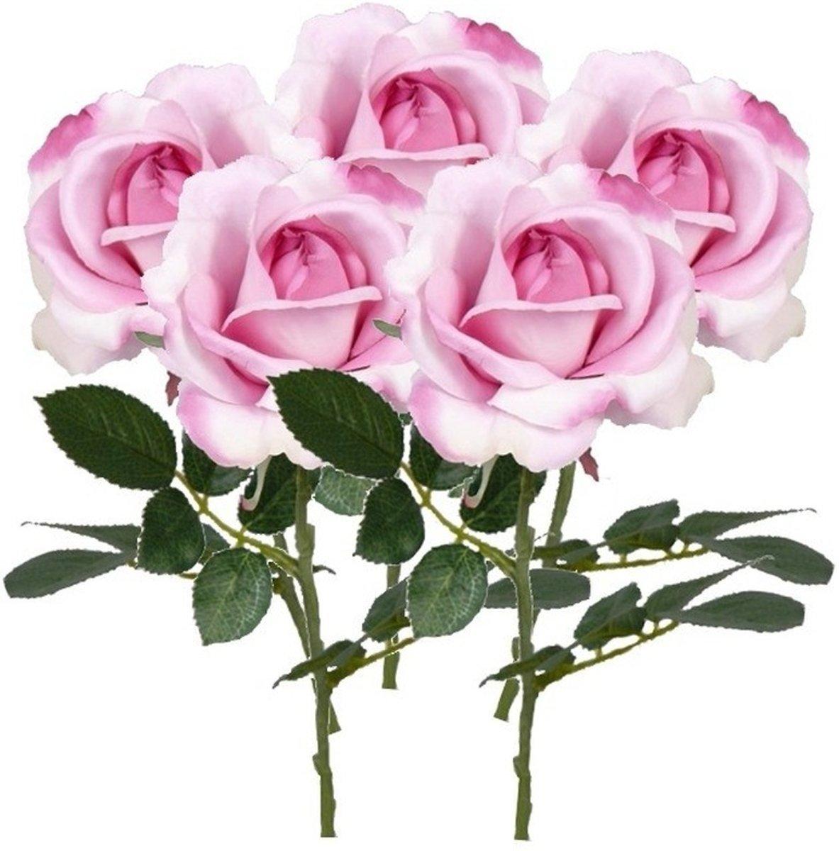 5x Roze rozen Carol kunstbloemen 37 cm kopen