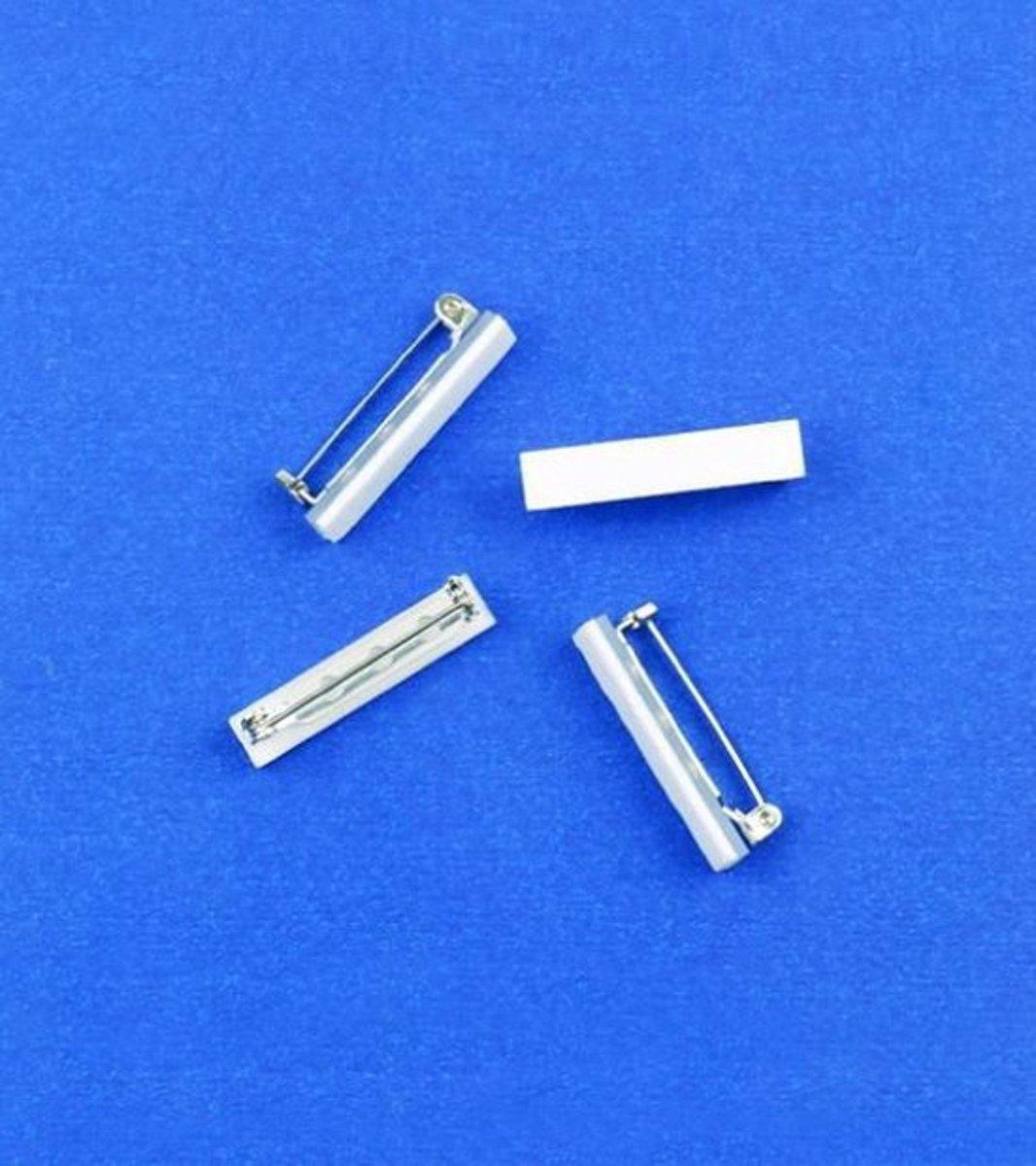 Broche Speld met zelfklevend Foamtape - 25mm - Zilver. Nickelfree. 4 ZAKJES a 6 STUKS. [ 24 STUKS ] kopen