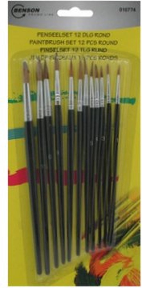Penseel - Penselen - Penselenset - 12 delig - Rond kopen