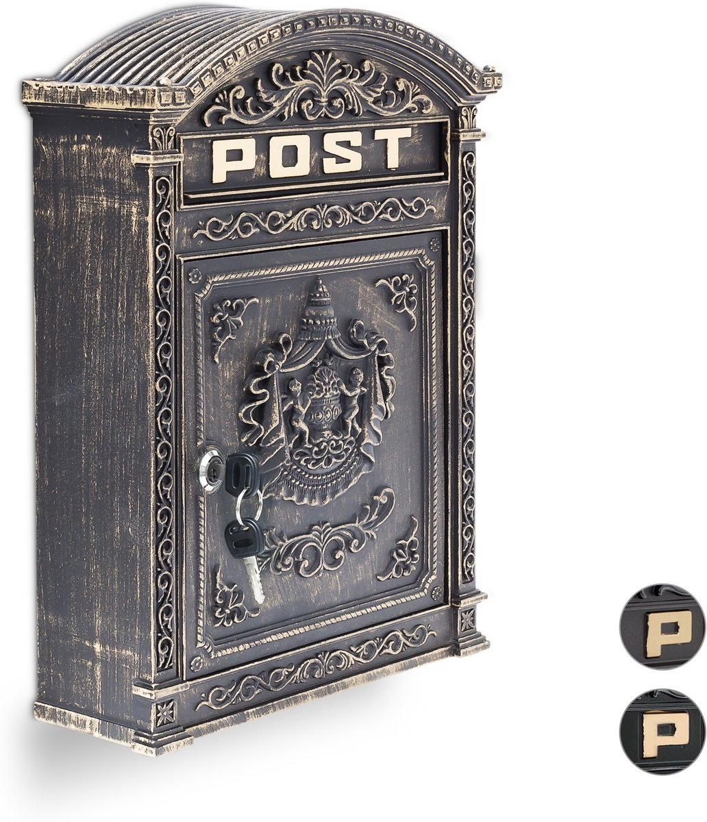 relaxdays brievenbus Engelse muur-brievenbus nostalgie, A4 formaat, antiek groen