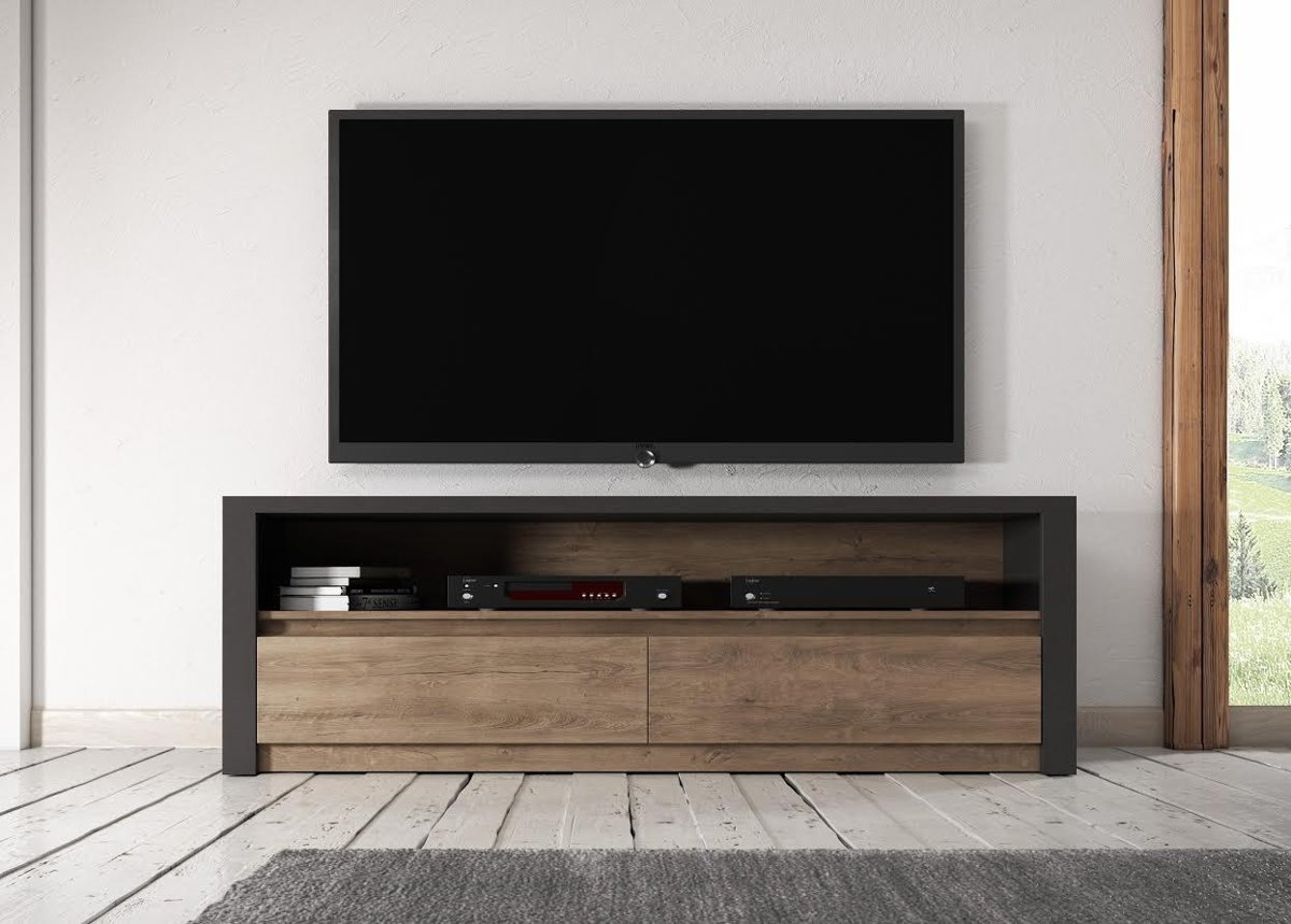 Meubella TV Meubel Monaco - Eiken - Grijs - 130 cm