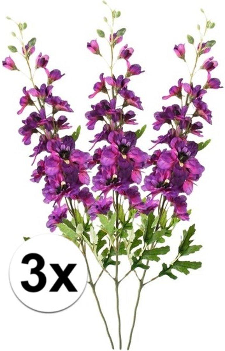 3x Paarse ridderspoor tak 70 cm -Kunstbloemen kopen