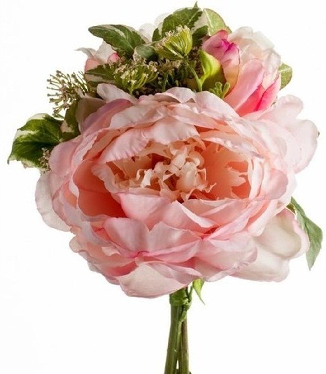 Roze kunstbloemen boeket 20 cm pioenroos/dille kopen