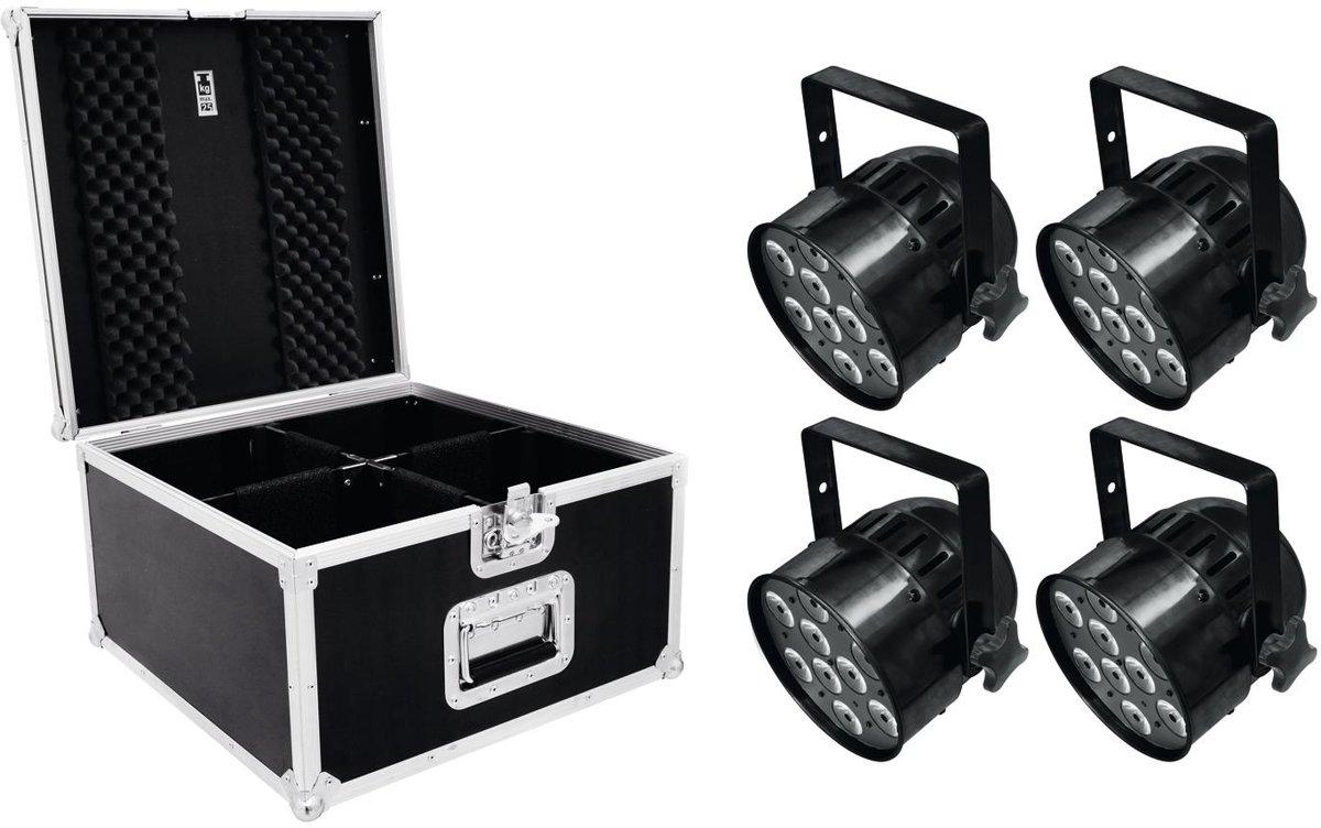 EUROLITE Set 4x LED PAR-56 HCL Korte zwart + PRO koffer - LED Par Set kopen