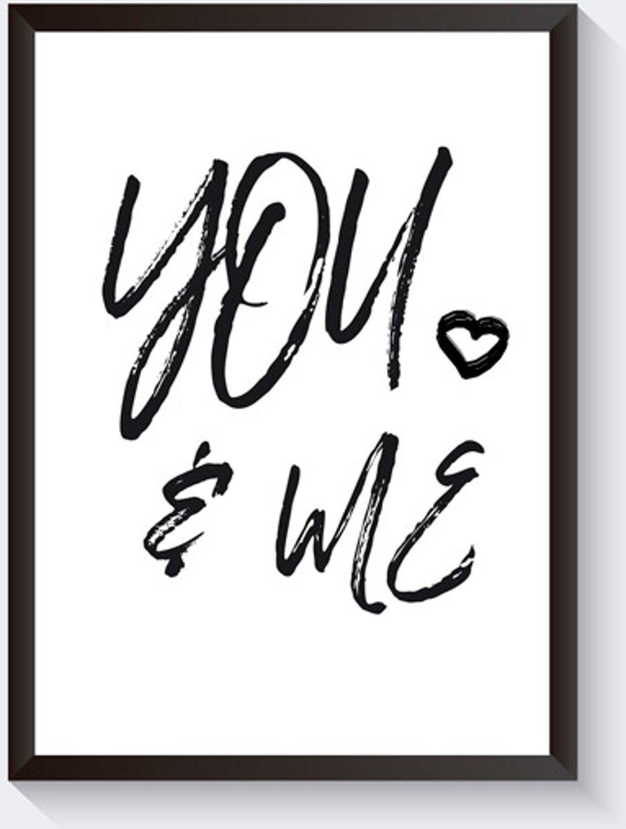 Tekstposter -You and me - zwart wit - grafisch - A4 kopen