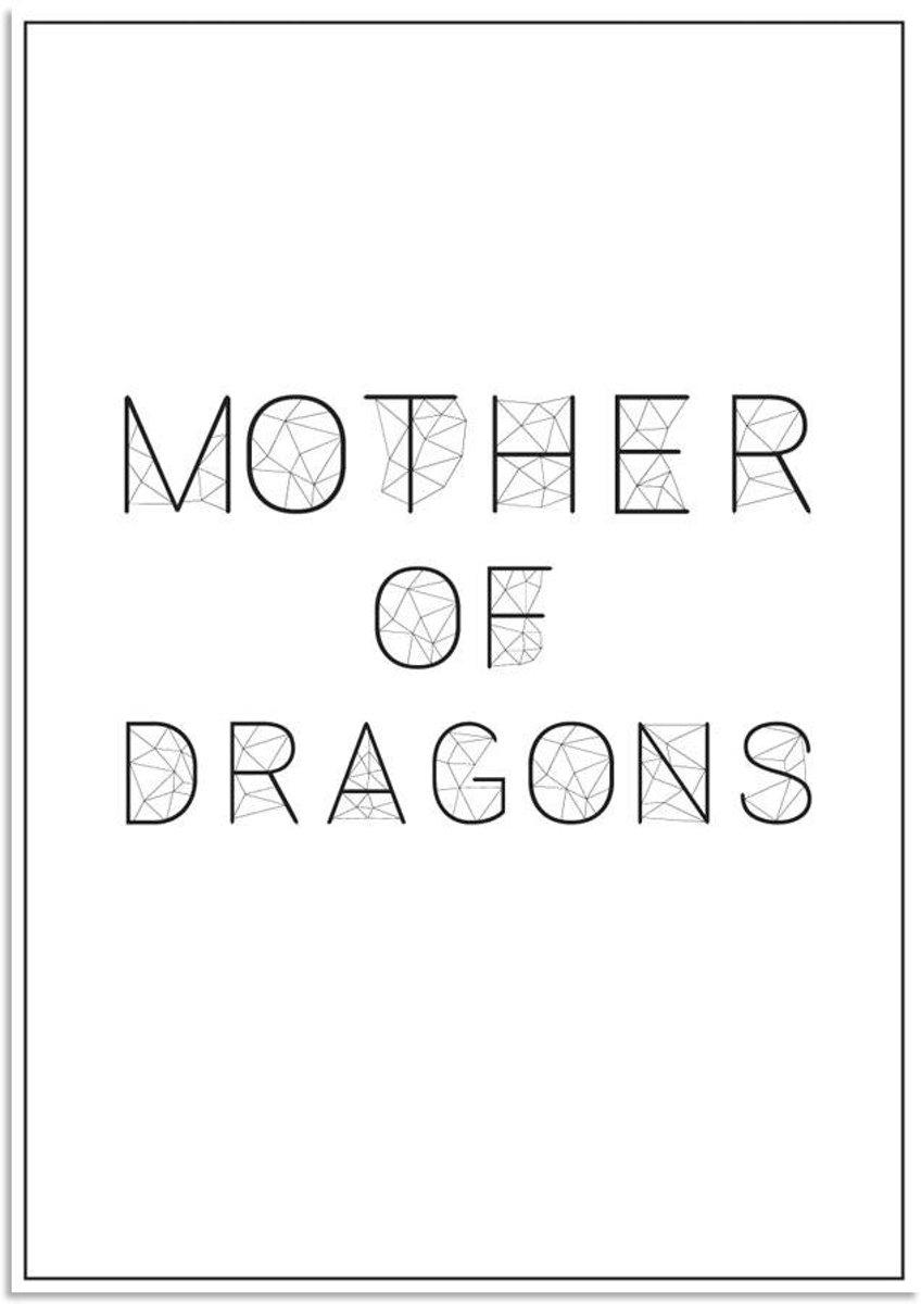 Tekst poster Mother of dragons DesignClaud - Zwart wit - A2 + fotolijst zwart kopen