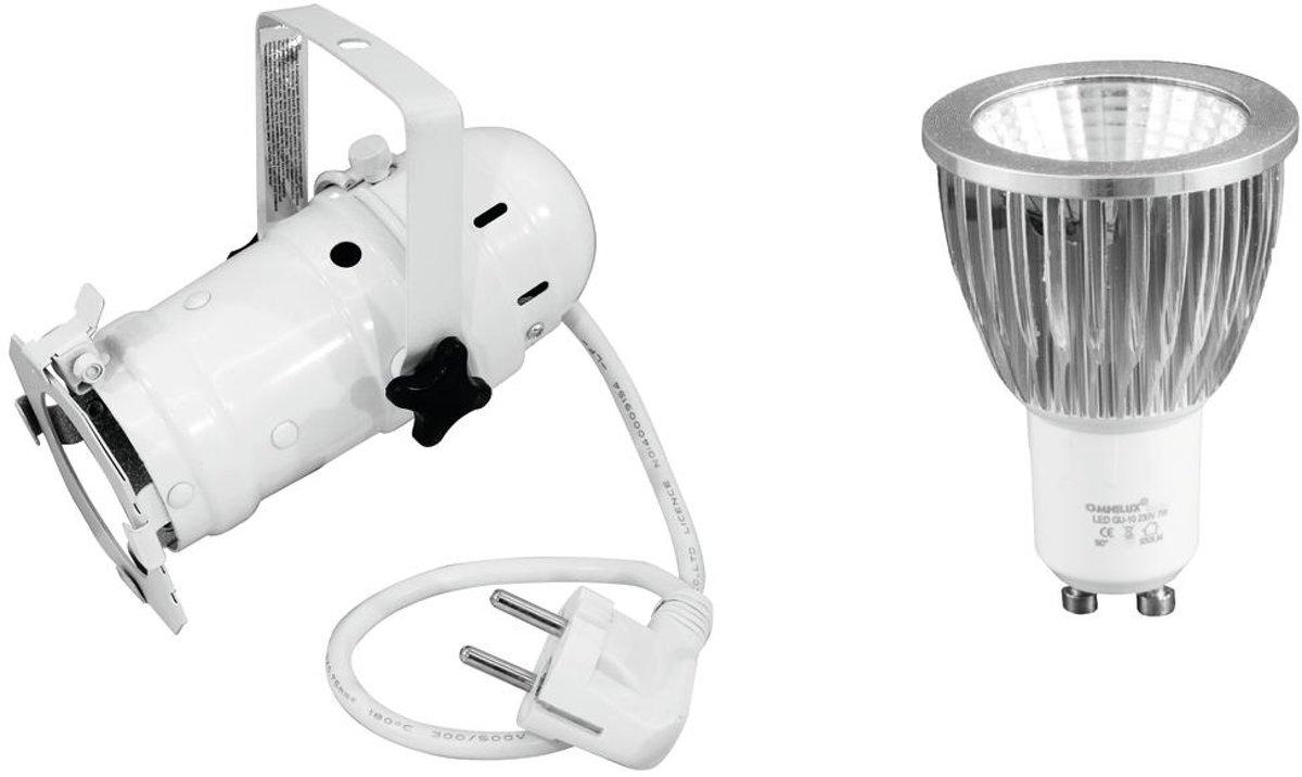 EUROLITE Set PAR-16 Spot zwart + GU-10 230V COB 7W 6400K LED Par - LED Par kopen