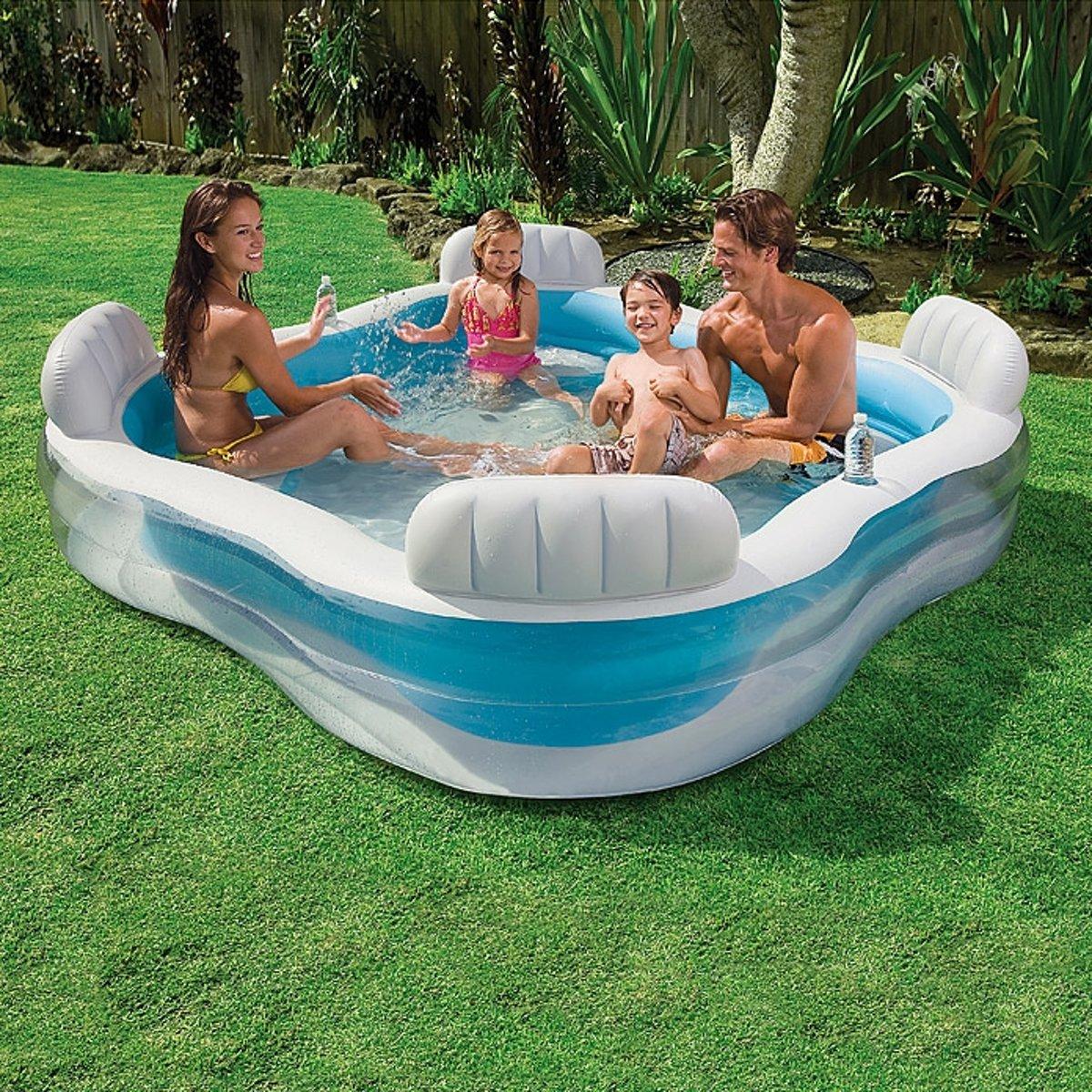 Luxe Opblaasbaar Familie Zwembad met Ingebouwde Zitjes - 229 x 229 x 66 CM - Opblaasbare - Family Zwembad Speelgoed - Luchtbed - Water - Familiebad