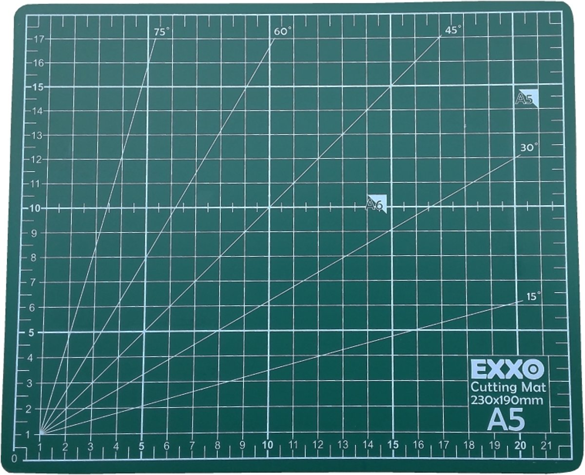 EXXO #10040 - A5 Snijmat - 5-laags zelfhelend - 2-zijdige rasterdruk -19x23cm - 6 stuks kopen