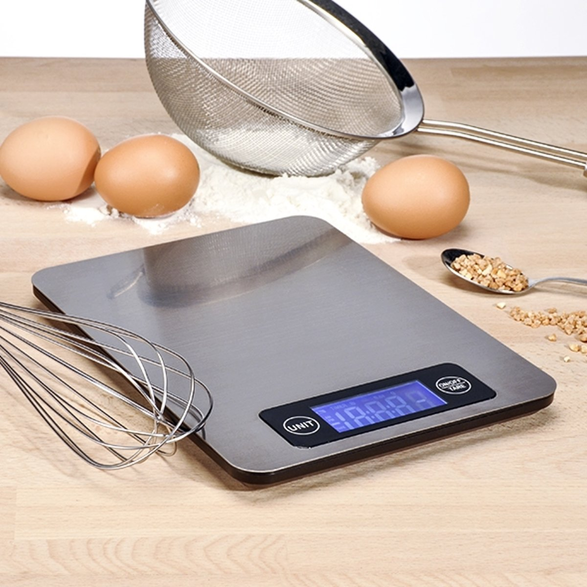 Elektrische keukenweegschaal RVS