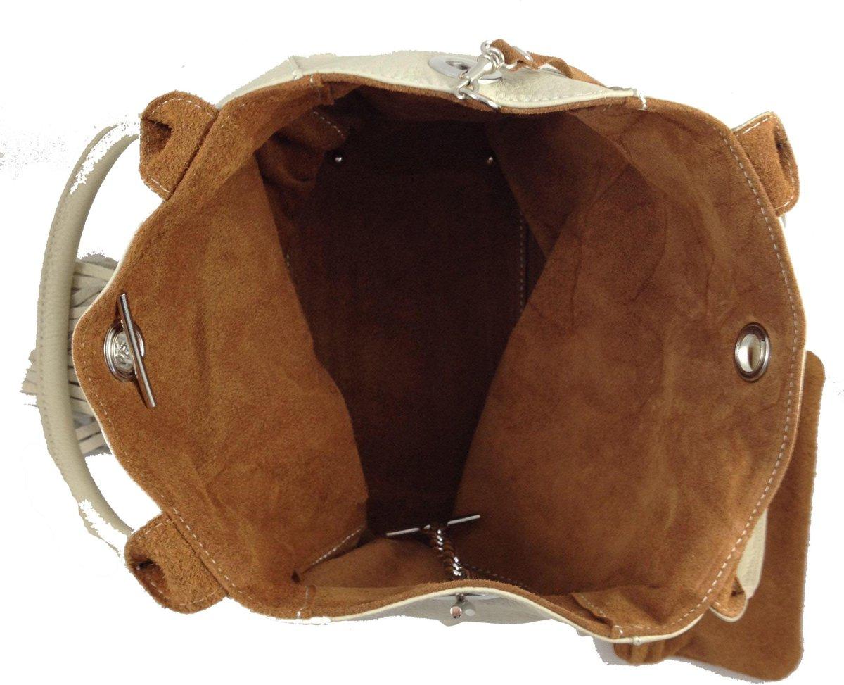 Bags and Tulips omkeerbare schoudertas Famke leersuede crèmecognac