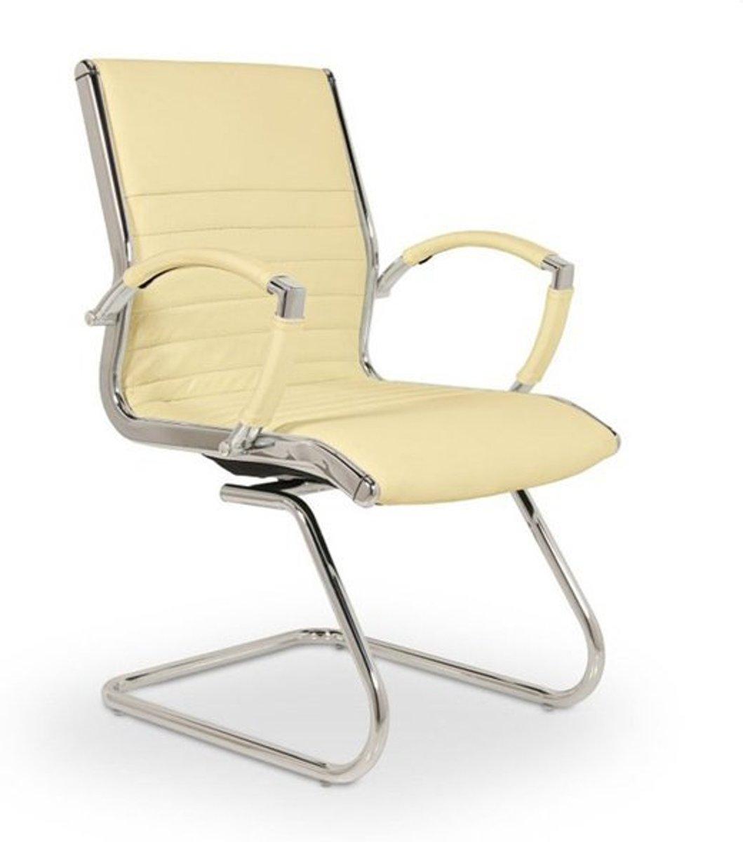 Vergaderstoel - Bureaustoel - Conferentiestoel - Bezoekerstoel - wachtkamerstoel - Lincoln design beige (100 % echt leder) kopen