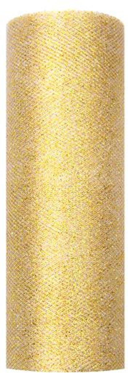 """""""Tulle glitters, goud, 0.15 x 9m (1 stuks/ 9 lm)"""""" kopen"