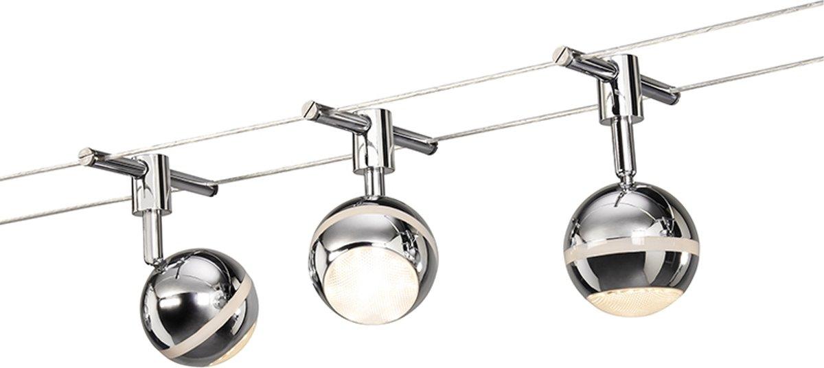 QAZQA Wire set - Minimalistische hanglamp - 3 lichts - L 5000 mm - Chroom kopen