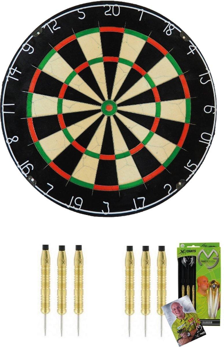 Michael van Gerwen - Supercombi 2 sets - dartpijlen - plus A-merk (BEST GESTEST) bristle - dartbord - starterset darten kopen