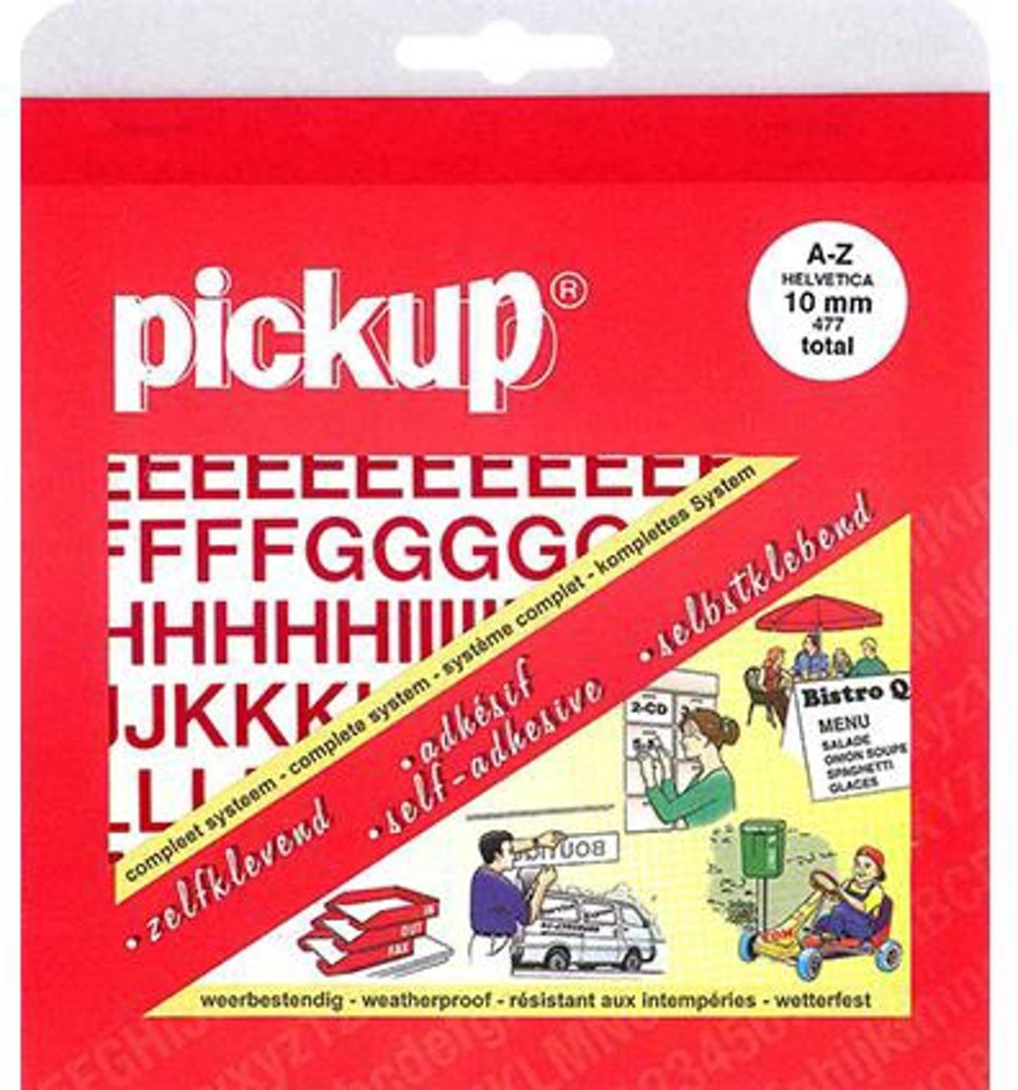 Pickup plakletters boekje helvetica 10mm letters rood kopen
