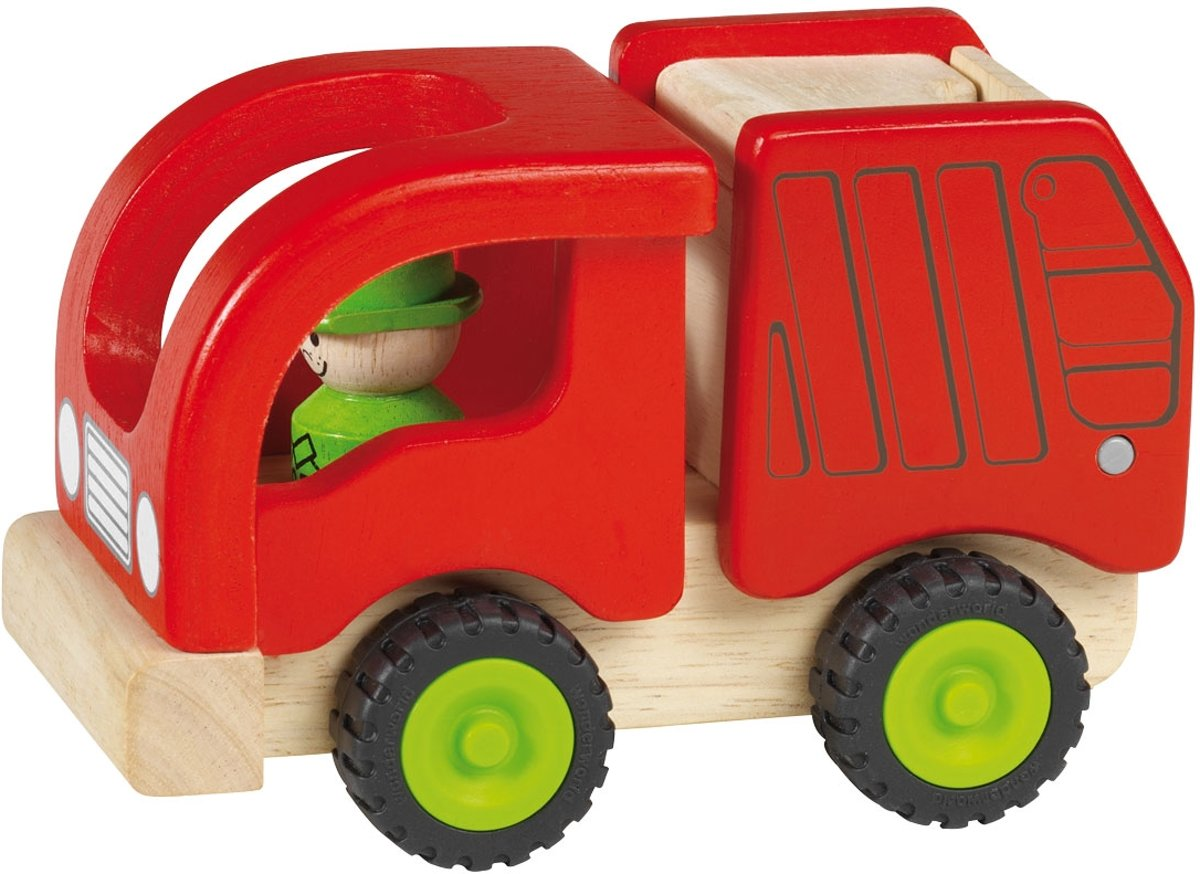 Goki Houten vuilniswagen 15 x 8,5 x 10 cm