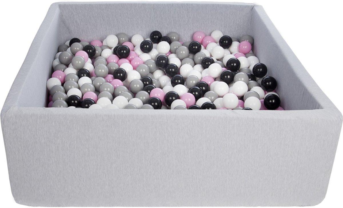 Zachte Jersey baby kinderen Ballenbak met 600 ballen, 120x120 cm - zwart, wit, lichtroze, grijs