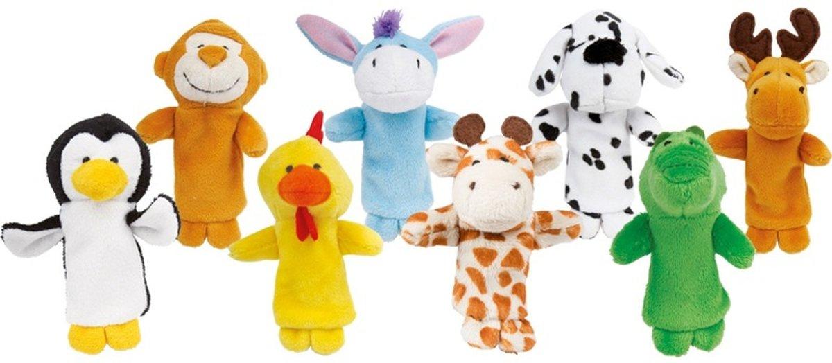 Vingerpopjes / poppenspel dieren vriendjes 8 stuks
