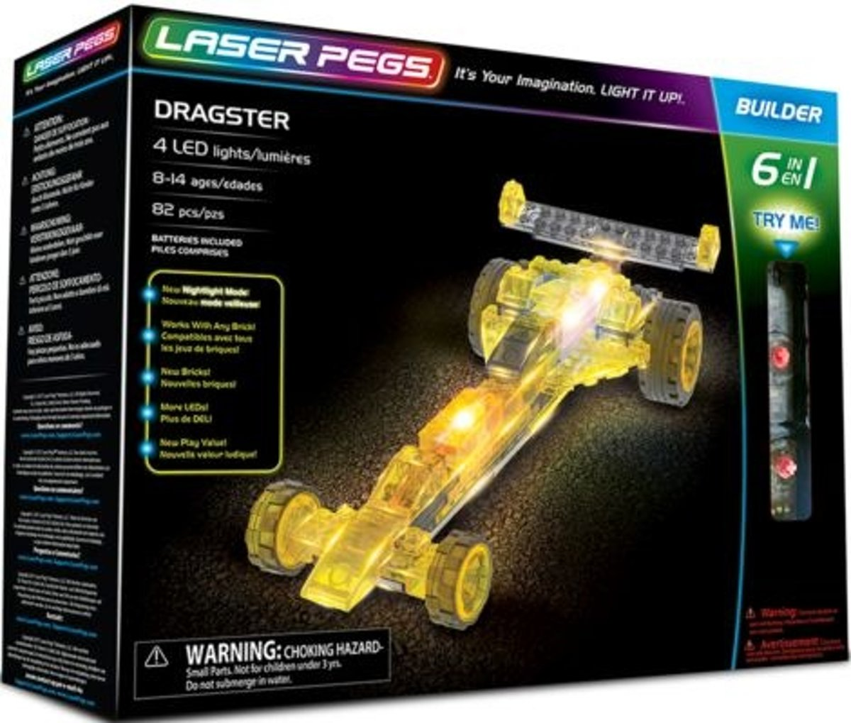 Dragster raceauto Laser Pegs 6 in 1