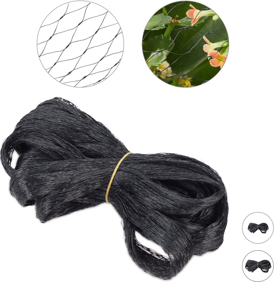 relaxdays vogelnet - vijvernet - kleine maaswijdte - fruitnet - anti-vogelnet - zwart 10 x 4 m kopen