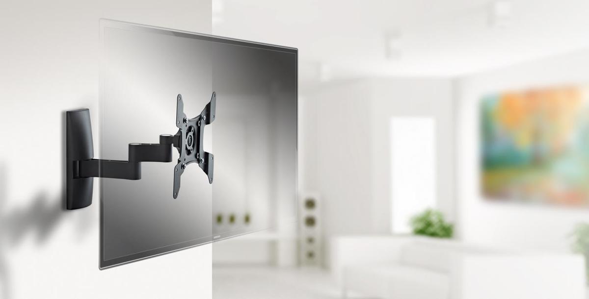 Universele muurbeugel - Kantelbaar en draaibaar - Geschikt voor tv's van 15 t/m 37 inch - Zwart kopen