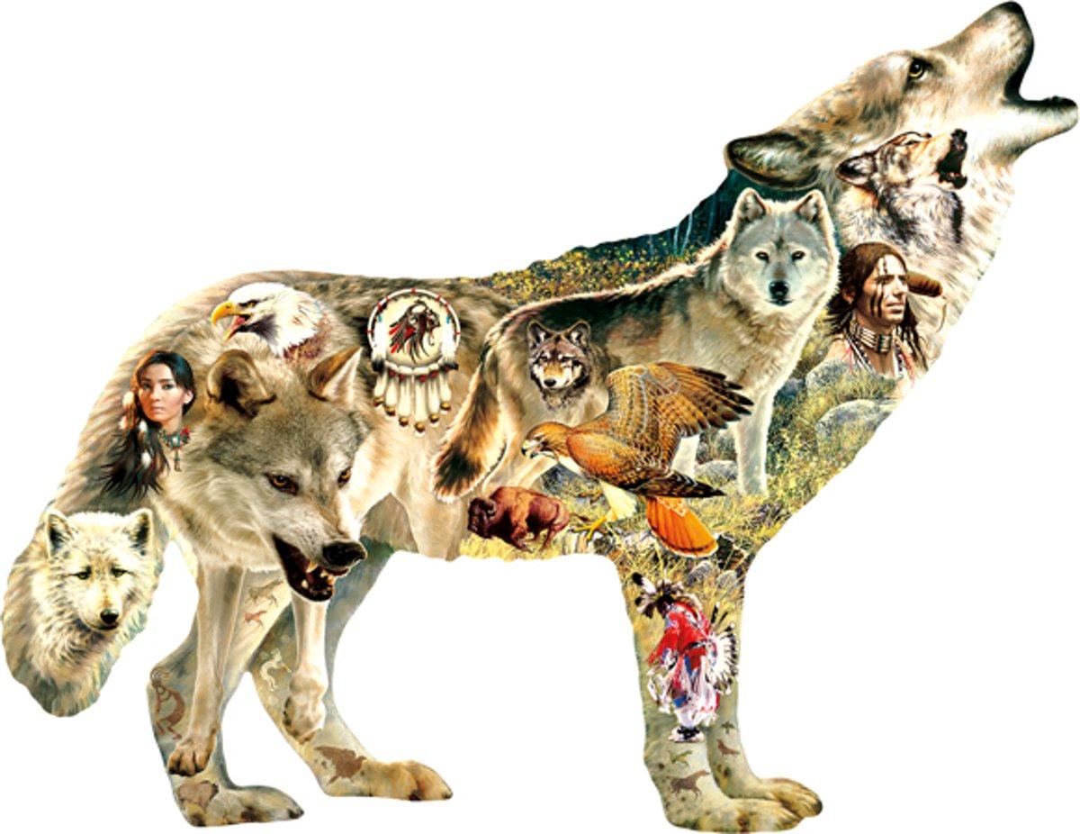 SunsOut shaped legpuzzel Native American Wolf kopen