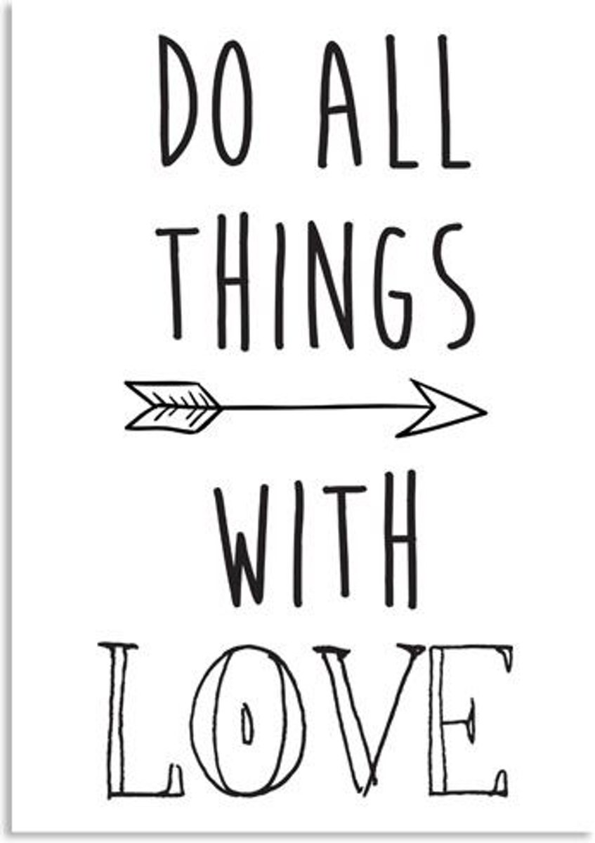 Tekst poster Do all things with love DesignClaud - Zwart wit - A2 poster kopen