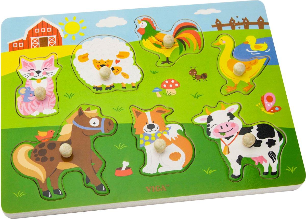 Viga Toys - Vormenpuzzel met Geluid - Boerderij kopen