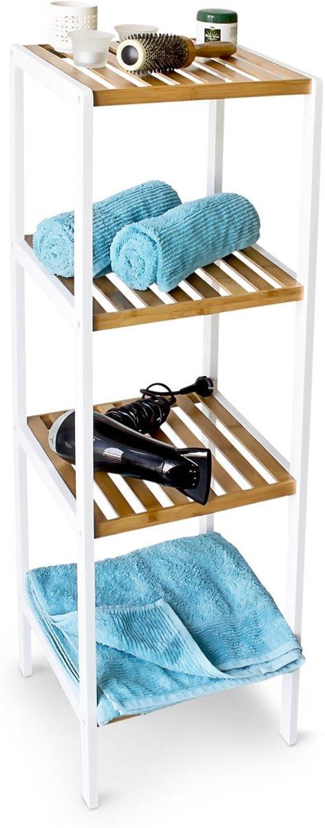 bol.com | relaxdays - badkamerkast bamboe wit - Stellingkast Kast ...