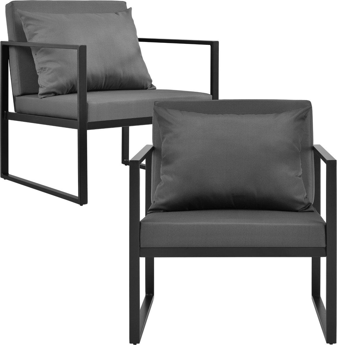[casa.pro]® Tuinstoel - tuin armleunstoel - 2 stuks set - zwart kopen