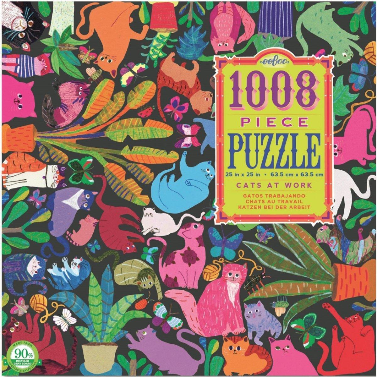 Eeboo puzzel katten aan het werk 1008 delig kopen