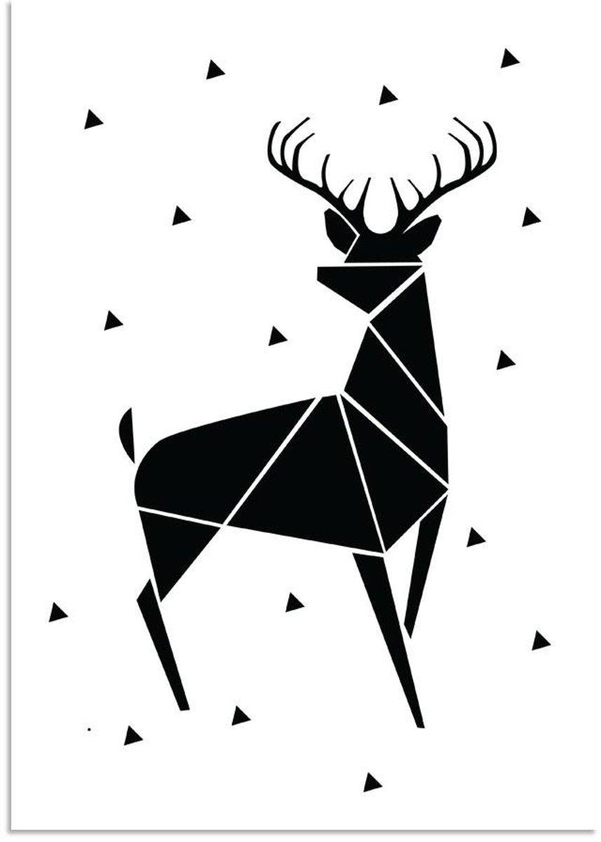 Kerst Poster Abstract Rendier Designclaud - Zwart Wit - A2 + Fotolijst wit kopen