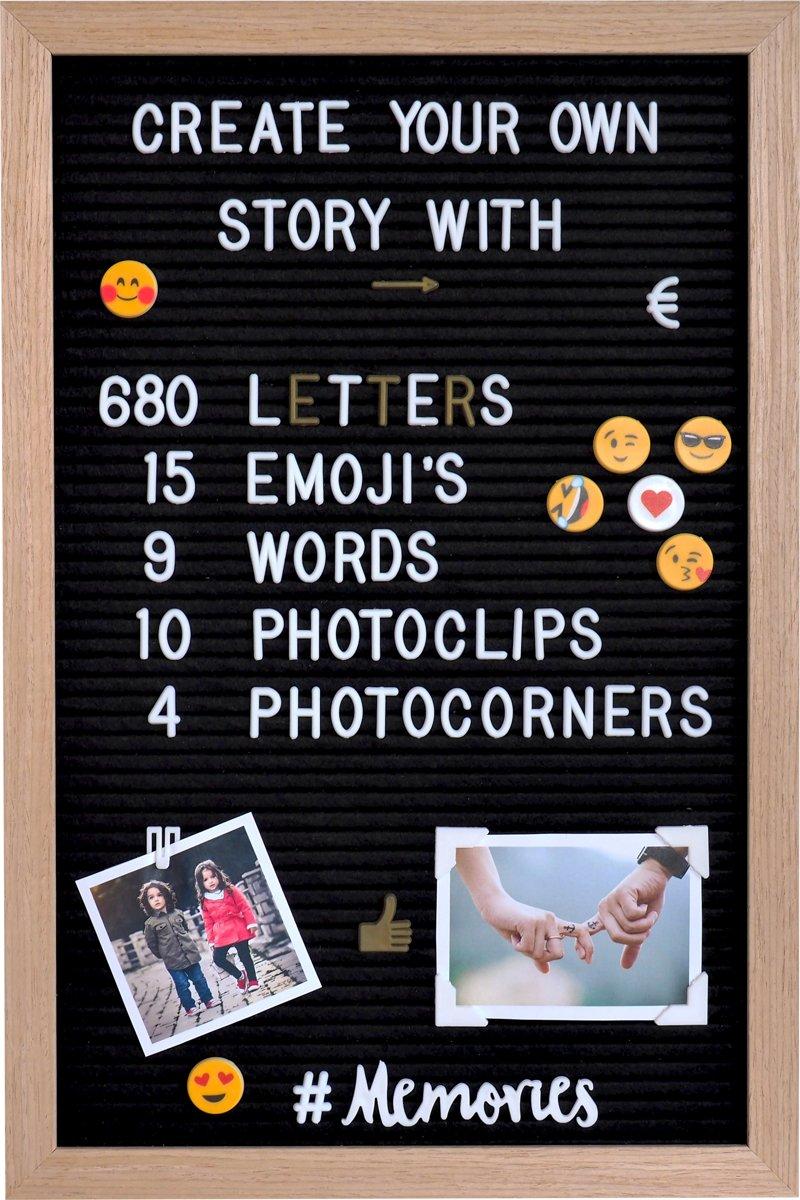 Gadgy® – Letterbord Hout met Zwart Vilt, 680 letters/getallen en leuke emoticons (340 Wit en 340 Goud) en opbergzakje – 30x45cm. kopen