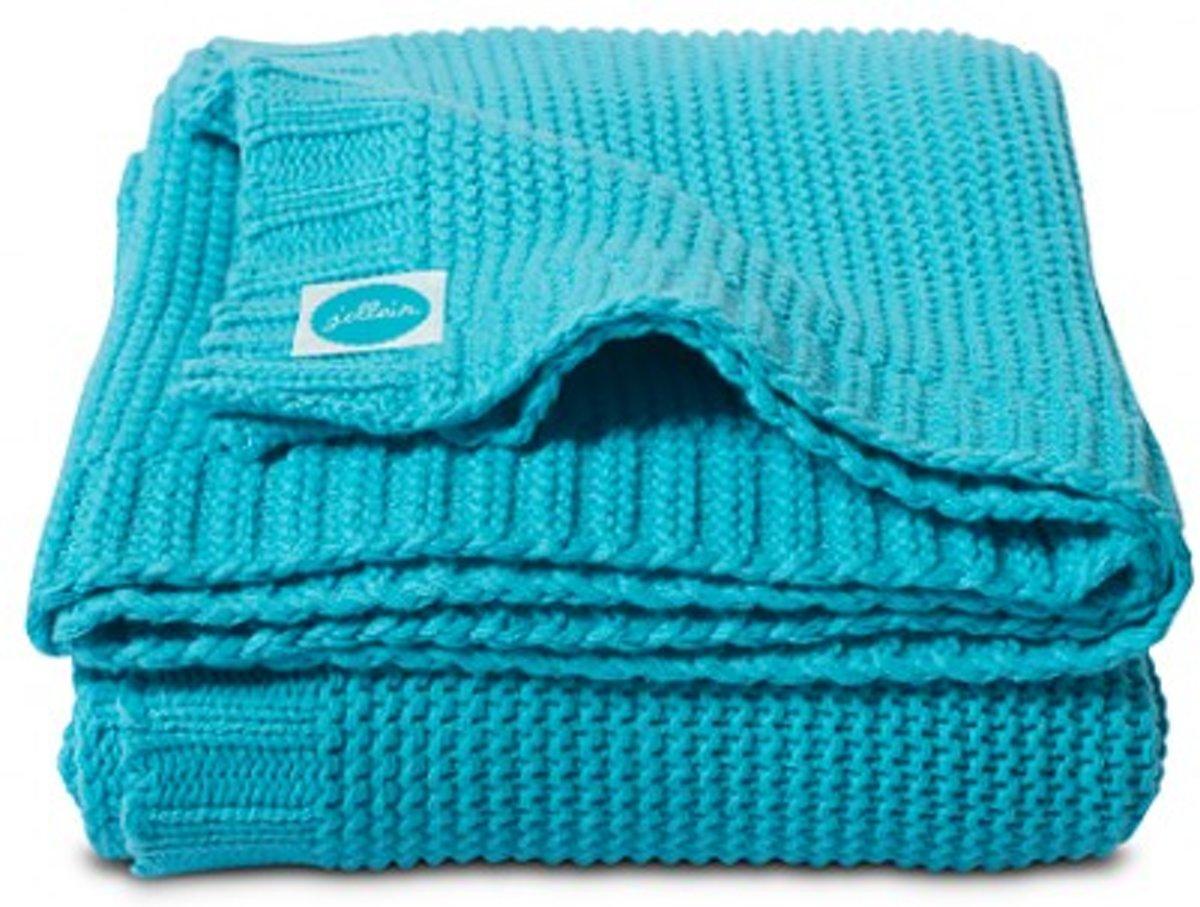 Jollein Chunky Knit - Ledikantdeken 100x150cm - Aquablauw
