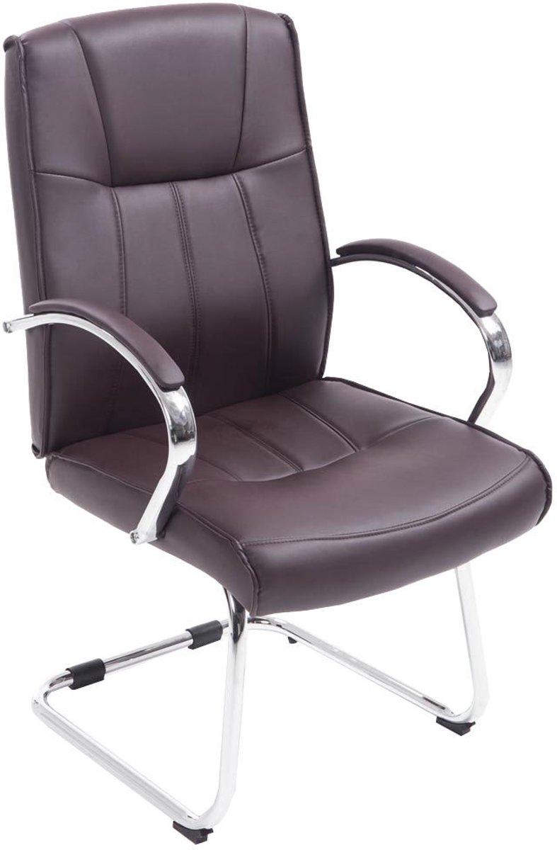 Clp Bezoekersstoel BASEL V2 conferentiestoel, vergaderstoel - verchroomde cantilever met armleuning, kunstleer - bruin kopen