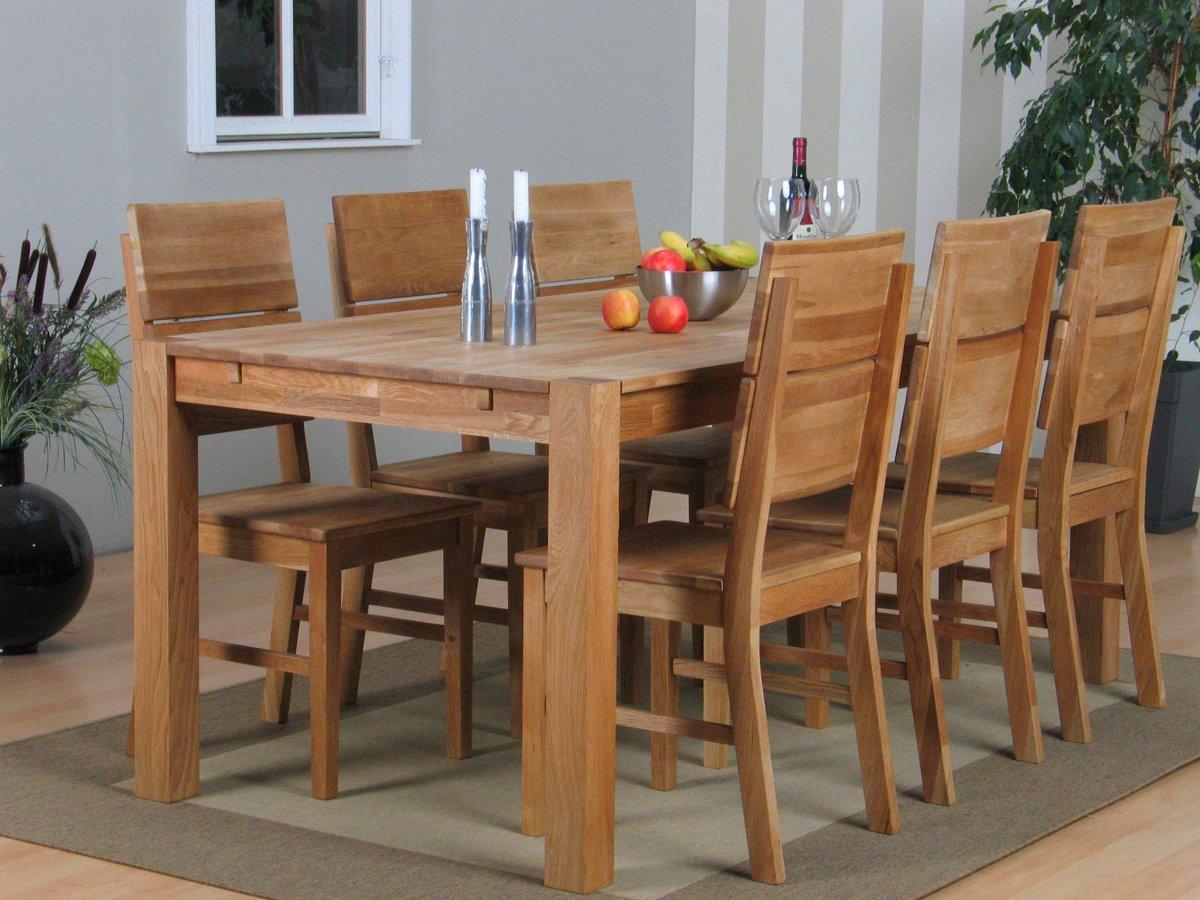 bol.com | Mark - Eetkamerset - Tafel 160x90 met 6 eiken stoelen - Eiken