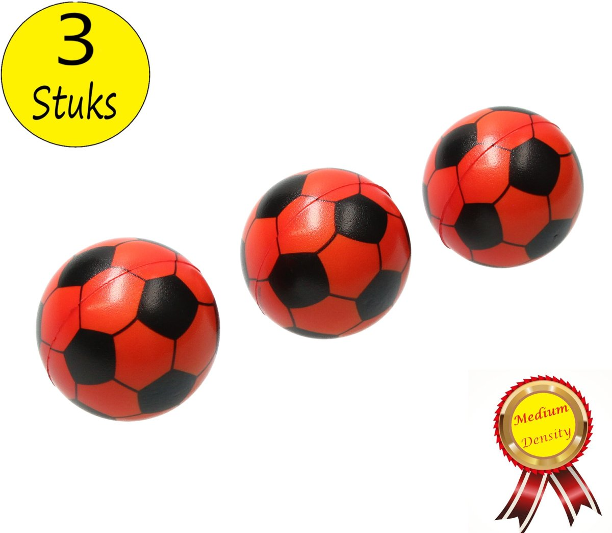 Stressbal Medium Density Voetbal 3 Stuks – Sensomotorische Stimulatie – Anti Stress – Oranje
