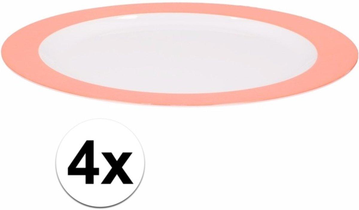4 x bord plat melamine wit met oranje rand 23 cm kopen