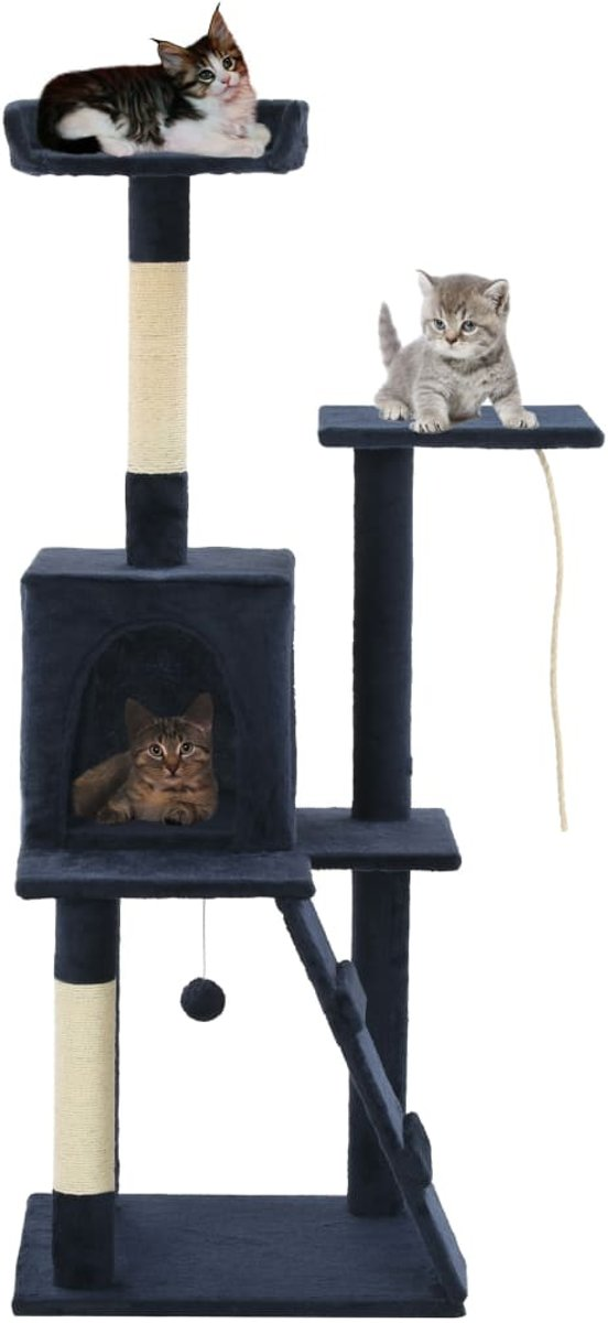 vidaXL Kattenkrabpaal met sisal krabpalen 120 cm donkerblauw