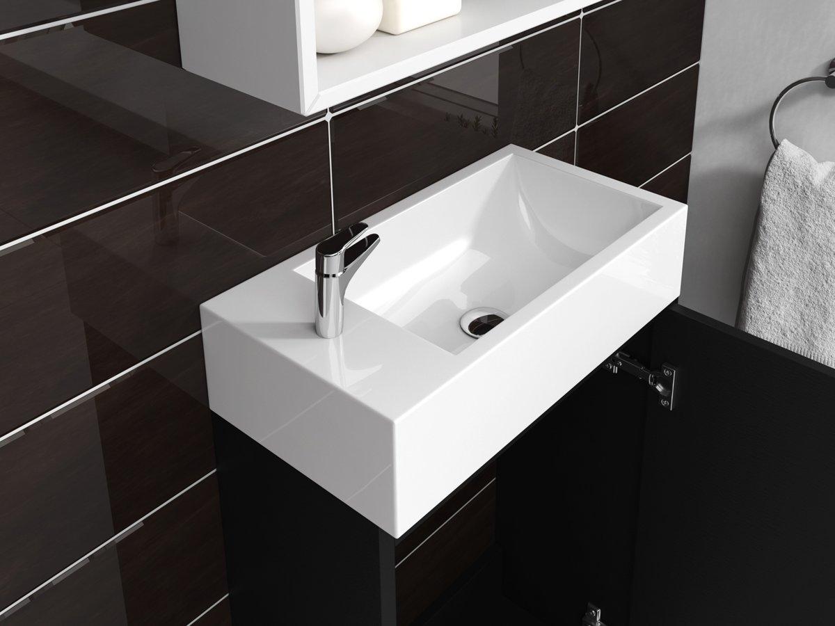 New bol.com | Badplaats Toiletmeubel Athene 40cm Fonteinmeubel Zwart XQ44