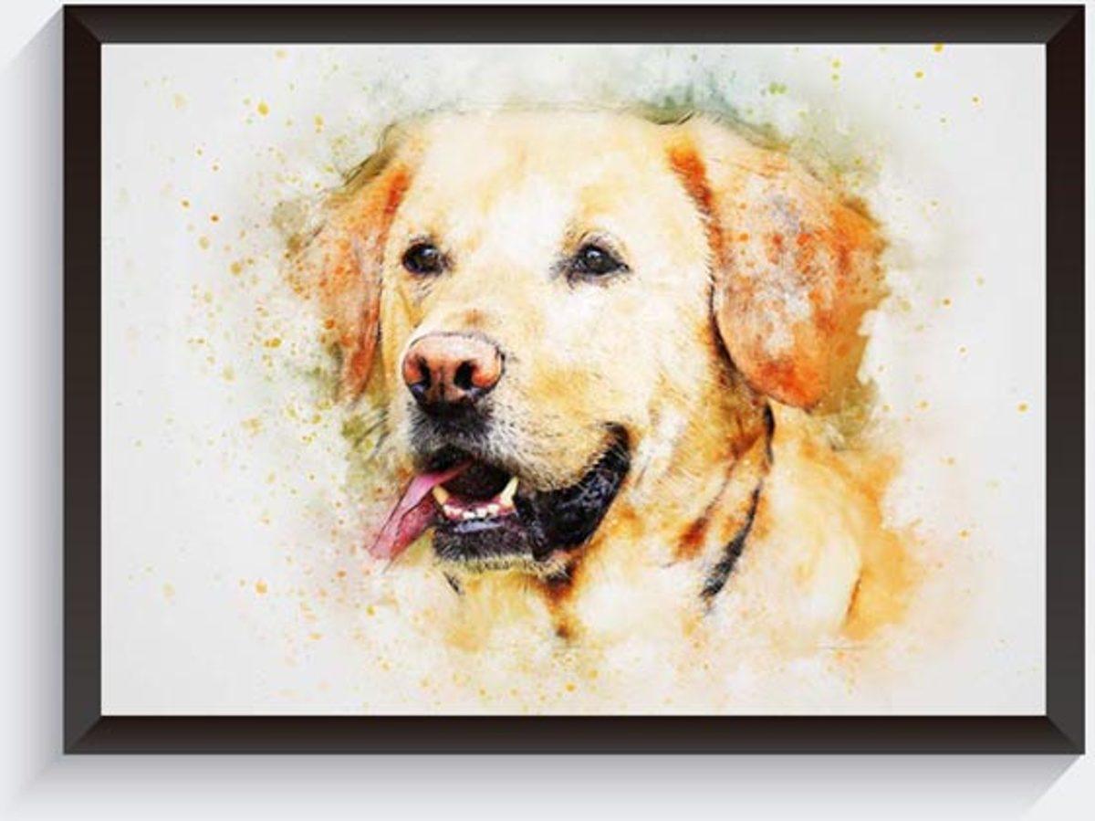 Golden retriever poster - Aquarel effect poster - Woondecoratie poster - Hondenposter dieren poster - A4 kopen