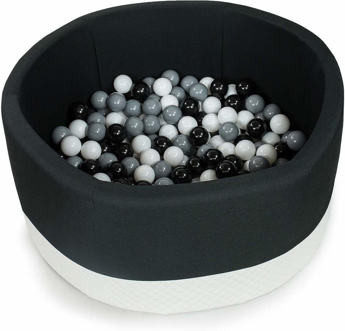 PONPOON Premium Ballenbad 90x40 CM with with 250 Balls – Round ECO Black